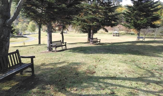 やまびこの丘公園休憩用のベンチ